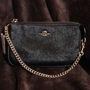 Coach Leather Haircalf Large Wristlet Purse NEW